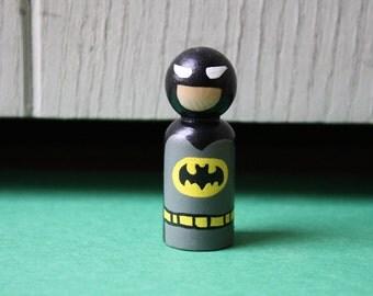 Wooden Batman Peg Doll