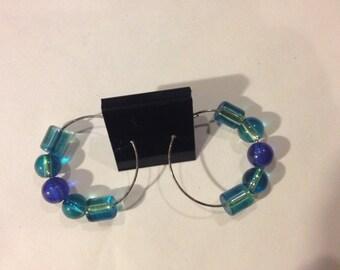 Shades of Blue  Hoop Earrings