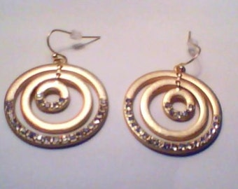 Gold Triple Hoop Earring - Lead-Free Alloy - Free Shipping
