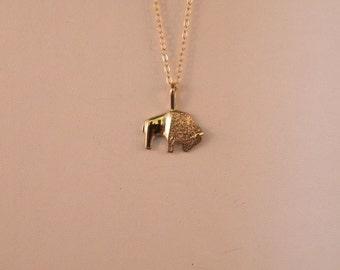 14k Gold Bison Pendant