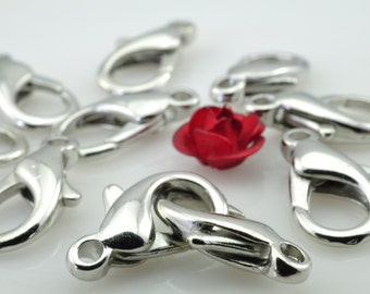 100 pcs of Antique Silver  lobster clasp in 7mm wideX 14mm length
