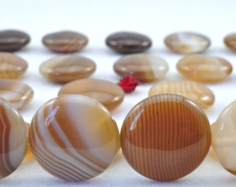 27 pcs of Banded Agate smooth flat coin beads in 14mm
