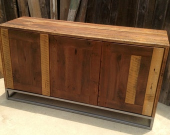 Custom Rustic Modern/ Industrial Reclaimed Wood Buffet Cabinet / Credenza / Storage Cabinet / Entertainment Center