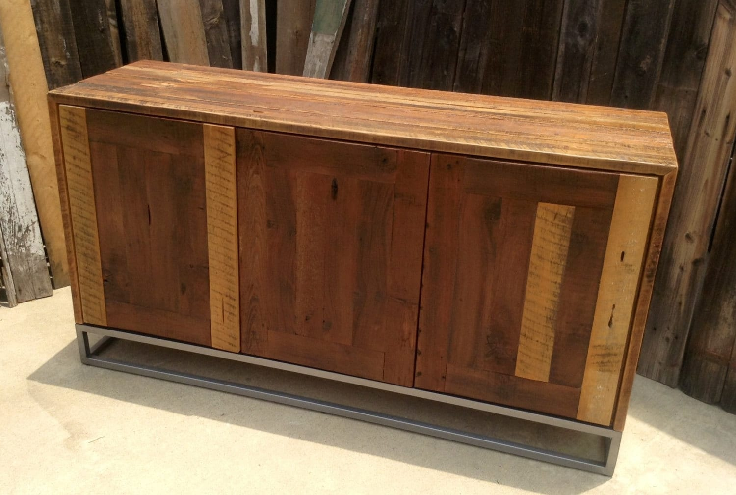 Custom rustic modern industrial reclaimed wood buffet cabinet for Custom wood cabinets