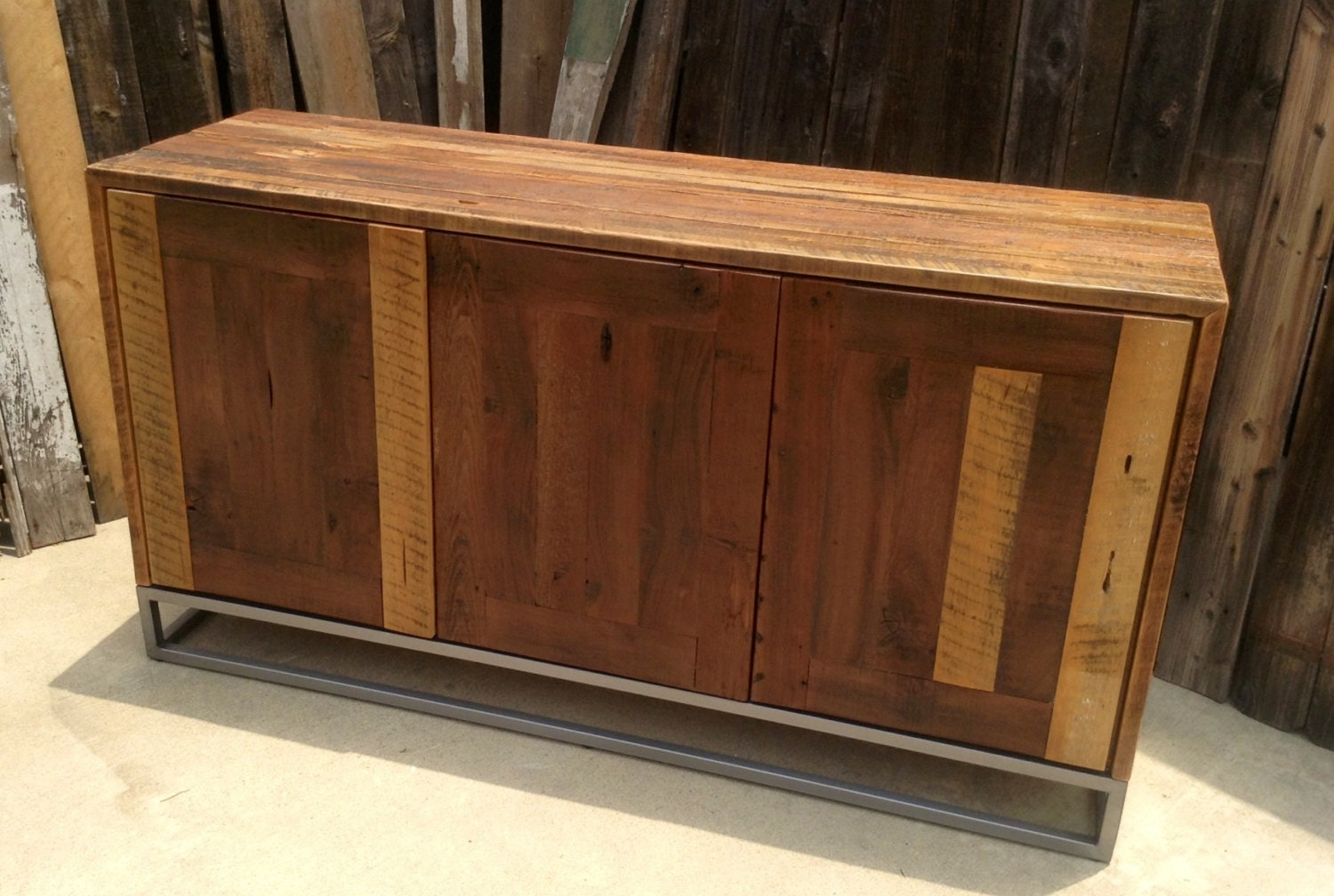 Rustic buffet table furniture - Custom Rustic Modern Industrial Reclaimed Wood Buffet Cabinet Credenza Storage Cabinet Entertainment Center