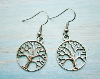 Antique Silver Tree of Life Charm Dangle Earrings/Boho Earrings/Nature Earrings/Tree Earrings/Dangle Earrings/Hypo-allergenic
