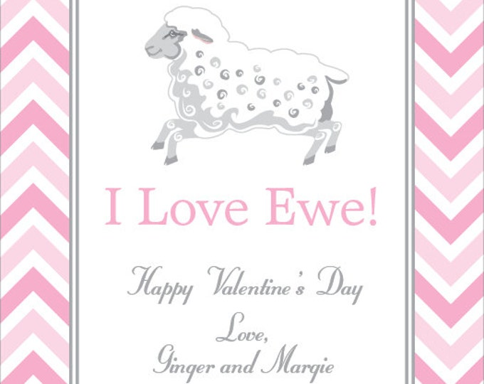 Little Lamb Chevron | Children's Personalized Valentine Card