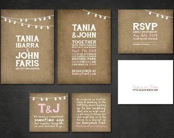Outdoor Rustic Vintage Wedding Invitations & RSVP Postcards