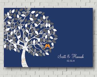 Wedding Tree Wedding Guest Book Print, Custom Guest Book Alternative, Navy Blue Guest Book Tree, Wedding Gift for Bride, Custom Guestbook