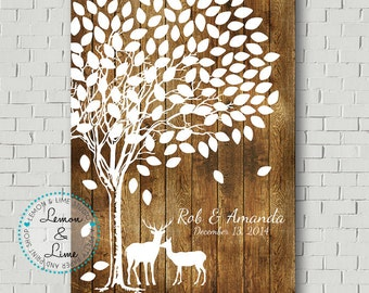 Wedding Guest Book -  Alternative Guest Book - Wedding Poster - Wedding Tree - Guest Book Print - Wedding Guestbook- Faux Wood Wedding Sign