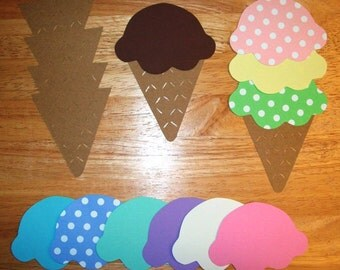 Ice Cream Cone Die Cuts, Large, Set of 16 individual pieces of cones and scoops