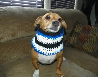 Dog  Cowl Blue Black and White Sizes XSmall-XXXLarge