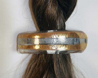 Elegant Gold and Silver Dichroic fused Glass Ponytail Holder
