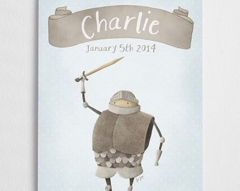Birth announcement poster, customizable print, newly born gift, nursery illustration// Knight