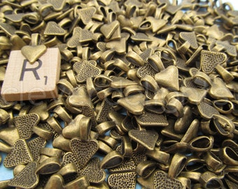 200 Heart Bails - 16x10mm - Antique Bronze Color - Small Glue On Bails - Scrabble Glass Pendants Heart Spider Bail - 5/8 x 3/8 inch 10x16 mm