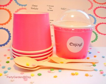 25 Hot Pink Ice Cream Cups - Large 16 oz