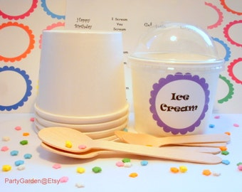 25 White Ice Cream Cups - Medium 12 oz