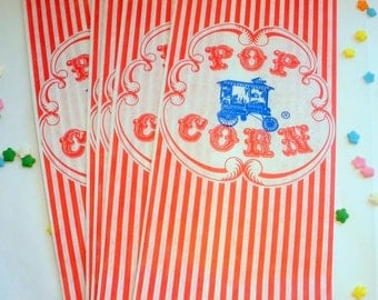 50 Vintage Retro Style Red Striped Wagon Popcorn Bag - Circus Carnival Party