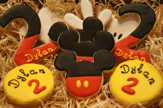 Hand decorated MICKEY MOUSE birthday cookies