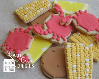 Crab Boil Beach Theme Decorated Cookies - 1 Dozen