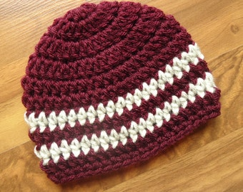 Crocheted Baby Boy Hat, Crocheted Burgundy with Oatmeal Stripes Baby Beanie, Baby Shower Gift, Newborn to 5T - MADE TO ORDER
