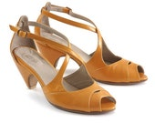 Yellow Leather sandals, High heels shoes