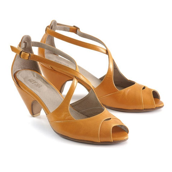 yellow leather sandals high heels shoes by mykashop on etsy
