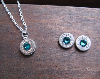 Bullet Jewelry 38 Special Bullet Jewelry Set with Earrings and  Necklace with Crystal Accents - Small Thin Cut - December Birthstone