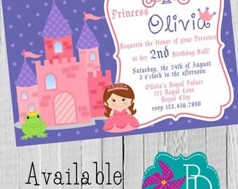 Princess 1 Birthday Invitation Printable- 4x6 or 5x7