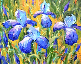 """Irises - Impressionism. Palette Knife Oil Painting on Canvas by Dmitry Spiros. Ready to Hang. Size: 20""""x26"""""""