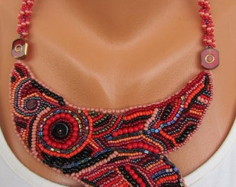 VINTAGE embroidery beadwork necklace