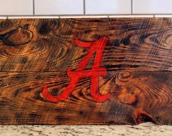 Handmade University of Alabama Logo Wood Sign