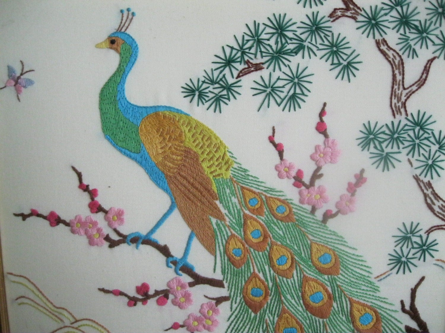 Vintage Peacock Framed Embroidered Large by SimplifyMyWorld