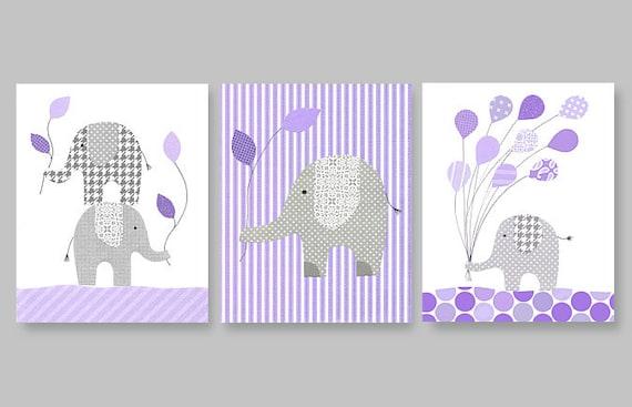 Purple and gray nursery art elephant decor by - Purple and grey room decor ...
