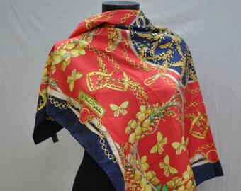 Vintage  RENATO BALESTRA Silk Scarf 34 x 35 Square,
