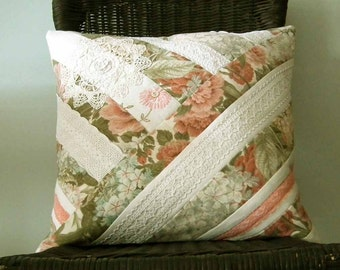 Pillow Cover, Cushion Cover, Sanderson Floral Fabric, Vintage Linen & Lace, Patchwork, OOAK, UK Seller