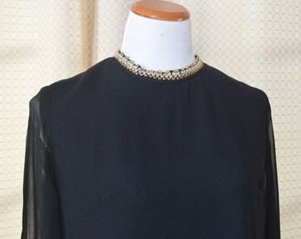 1960s 60s Lane Bryant Black Dress with Sheer Sleeves with Gold and Silver Trim