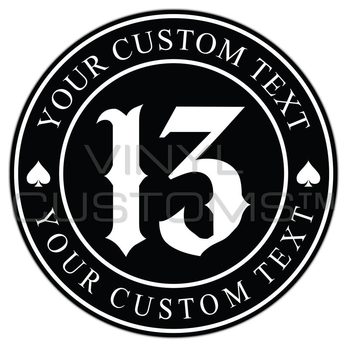 Custom Logo Vinyl Decal Sticker Lucky Number Spade Your - Custom logo vinyl decals