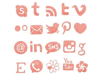 Social Media Icons, Blog Buttons, Watercolor Icons, Paper Icons, Pink Icons