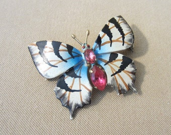 Vintage 50's Jeweled, Enameled, Rhinestone, Brass Butterfly Brooch, Ladies Pin, Bright Colored Brooch, 1950's, Ladies Gift, Whimsical, Fun