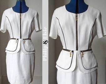 Mrs Jones - 1980's White Peplum Suit Dress - Small