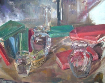 Original Still Life Oil Painting- Glass and Books