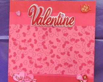 12x12 Premade Valentine Scrapbook Page, Premade Scrapbook Page, Premade Valentine Page, Valentine Layout, Premade Layout, Premade Valentine