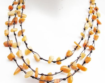 Nugget Honey Jade Stone Multi Strand Layered Necklace