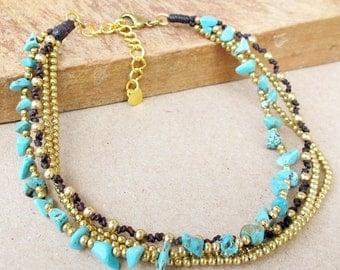 Multi Brass Bead Chain Turquoise Stone Ankle Bracelet