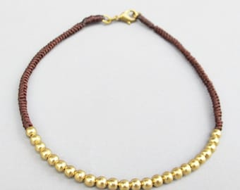 Brown Macrame Ankle Bracelet with Brass Bead
