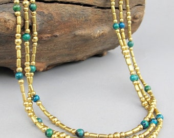 4mm Chrysocolla Beaded Multi Strand Necklace with Brass Bead