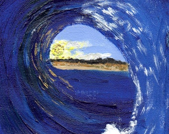 Original Acrylic Painting, Wave, Rip Curl, Art, Gift, Ocean, Painting, Blue, Gold, Sea, Small Painting
