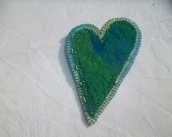 Felted Blue Green Heart Brooch
