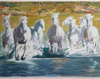 Painting, Acrylic on canvas, Original, Horses, White horses, Wildlife, Realistic, Figurative, Nature, made by Cosé Manzano